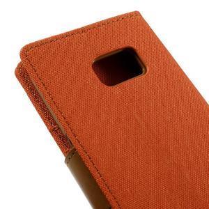 Canvas PU kožené/textilní puzdro pre Samsung Galaxy S7 - oranžové - 5