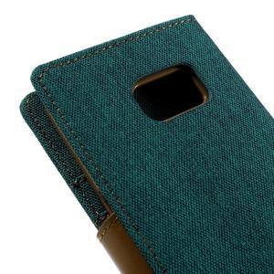 Canvas PU kožené/textilní puzdro pre Samsung Galaxy S7 - zelené - 5