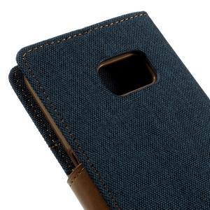 Canvas PU kožené/textilní puzdro pre Samsung Galaxy S7 - modré - 5