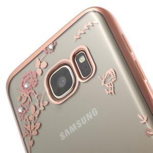 Nice gélový obal s kamínky pre Samsung Galaxy S7 - ružové kvetiny - 5