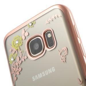 Nice gélový obal s kamínky pre Samsung Galaxy S7 - žlté kvetiny - 5