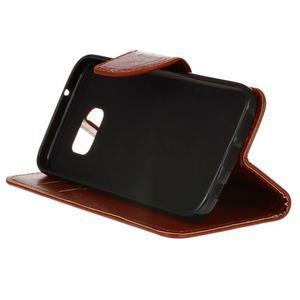 Stand peňaženkové puzdro pre Samsung Galaxy S7 - hnedé - 5