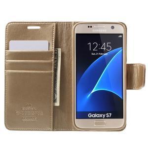 Sonata PU kožené pouzdro na Samsung Galaxy S7 - zlaté - 5