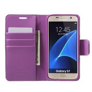 Sonata PU kožené puzdro pre Samsung Galaxy S7 - fialové - 5