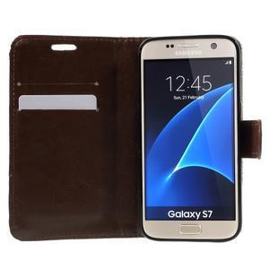 Kvetinové peňaženkové puzdro pre Samsung Galaxy S7 - béžovobiele - 5