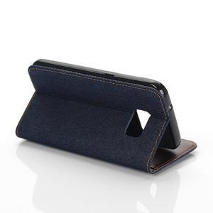 Jeans puzdro pre mobil Samsung Galaxy S7 edge - tmavomodré - 5