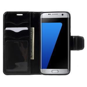 Rich PU kožené pouzdro na Samsung Galaxy S7 edge - černé - 5