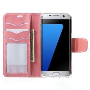 Rich PU kožené puzdro pre Samsung Galaxy S7 edge - ružové - 5