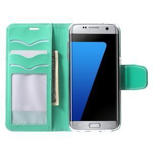 Rich PU kožené pouzdro na Samsung Galaxy S7 edge - azurové - 5