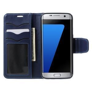 Rich PU kožené puzdro pre Samsung Galaxy S7 edge - tmavomodré - 5