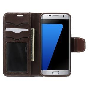 Rich PU kožené pouzdro na Samsung Galaxy S7 edge - hnědé - 5