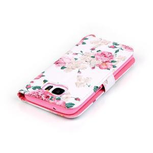 Kvetinové peňaženkové puzdro pre Samsung Galaxy S7 Edge - 5