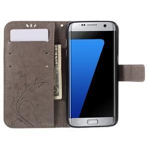 Butterfly PU kožené pouzdro na Samsung Galaxy S7 edge - šedé - 5
