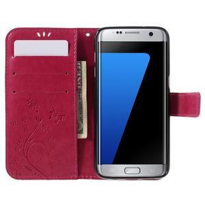 Butterfly PU kožené puzdro pre Samsung Galaxy S7 edge - rose - 5