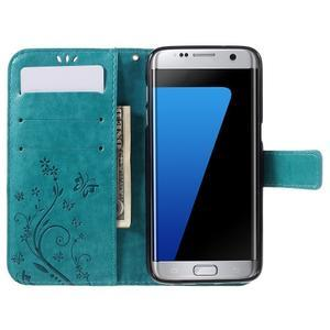 Butterfly PU kožené pouzdro na Samsung Galaxy S7 edge - modré - 5
