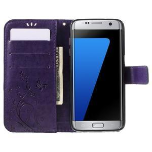 Butterfly PU kožené pouzdro na Samsung Galaxy S7 edge - fialové - 5