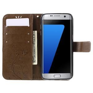 Butterfly PU kožené pouzdro na Samsung Galaxy S7 edge - fcoffee - 5