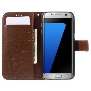 Butterfly PU kožené puzdro pre Samsung Galaxy S7 edge - hnedé - 5