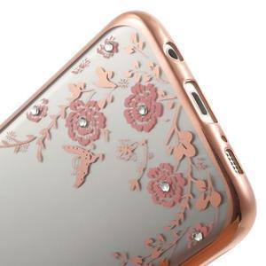 Nice gélový obal s kamienkami pre Samsung Galaxy S7 edge - ružové kvety - 5