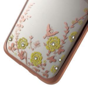 Nice gélový obal s kamienkami pre Samsung Galaxy S7 edge - žlté kvety - 5