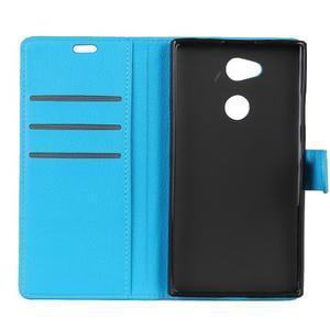 Litchi PU kožené púzdro na Sony Xperia L2 - modré - 5