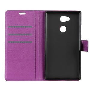 Litchi PU kožené púzdro na Sony Xperia L2 - fialové - 5