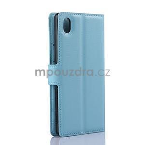 Svetle modré PU kožené puzdro pre Sony Xperia M4 Aqua - 5