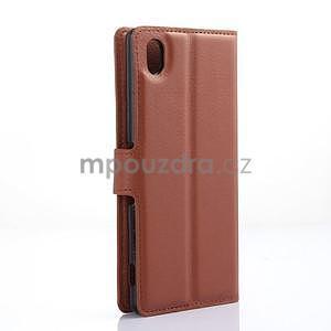Hnědé PU kožené pouzdro na Sony Xperia M4 Aqua - 5