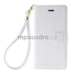 biele PU kožené puzdro aligátor pre Sony Xperia M4 Aqua - 5