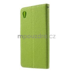Zelené PU kožené Peňaženkové puzdro pre Sony Xperia M4 Aqua - 5