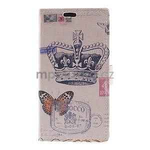Peňaženkové puzdro pre Sony Xperia M4 Aqua - koruna motýľ - 5