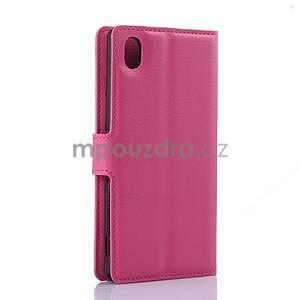 Růžové PU kožené pouzdro na Sony Xperia M4 Aqua - 5