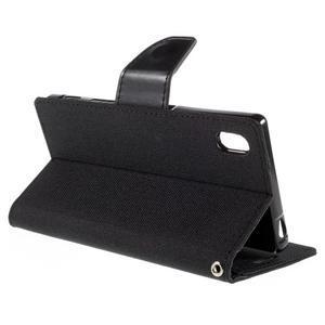 Canvas PU kožené/textilné puzdro pre Sony Xperia Z5 - čierne - 5