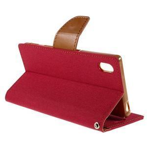 Canvas PU kožené/textilné puzdro pre Sony Xperia Z5 - červené - 5