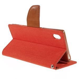 Canvas PU kožené/textilné puzdro pre Sony Xperia Z5 - oranžové - 5
