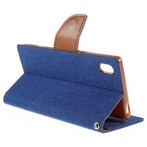 Canvas PU kožené/textilné puzdro pre Sony Xperia Z5 - modré - 5