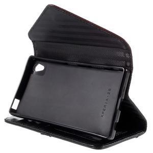 Štýlové Peňaženkové puzdro Sony Xperia Z5 - hnedé/čierne - 5
