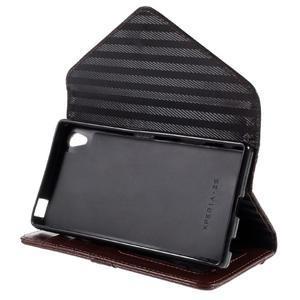 Štýlové Peňaženkové puzdro Sony Xperia Z5 - čierne/hnedé - 5