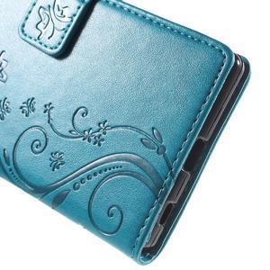Butterfly PU kožené pouzdro na Sony Xperia Z5 - modré - 5