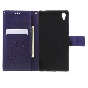Butterfly PU kožené pouzdro na Sony Xperia Z5 - fialové - 5