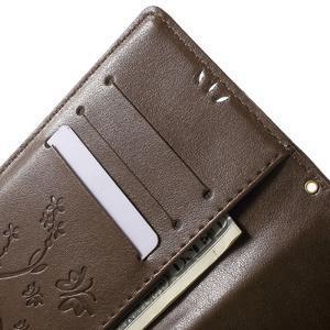 Butterfly PU kožené puzdro pre Sony Xperia Z5 - coffee - 5