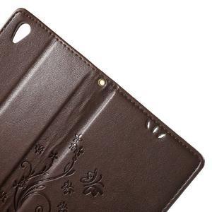 Butterfly PU kožené puzdro pre Sony Xperia Z5 - hnedé - 5