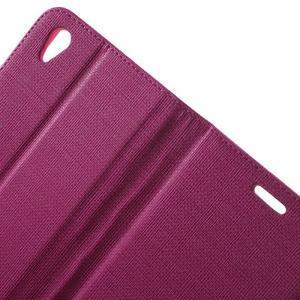 Grid PU kožené puzdro pre Sony Xperia Z5 - rose - 5