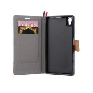 Cloth textilné/koženkové puzdro pre Sony Xperia Z5 - sivé - 5