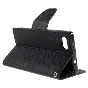 Fancy PU kožené puzdro pre Sony Xperia Z5 Compact - čierne - 5