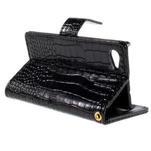 Croco Peňaženkové puzdro pre Sony Xperia Z5 Compact - čierne - 5