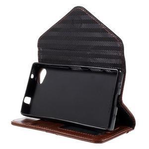 Štýlové Peňaženkové puzdro pre Sony Xperia Z5 Compact - hnedé/čierne - 5