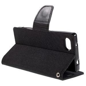 Canvas PU kožené/textilné puzdro pre Sony Xperia Z5 Compact - čierne - 5