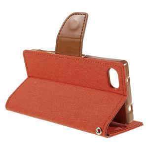 Canvas PU kožené/textilní pouzdro na Sony Xperia Z5 Compact - oranžové - 5