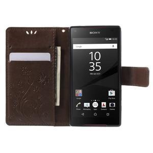 Butterfly Peňaženkové puzdro pre Sony Xperia Z5 Compact - coffee - 5